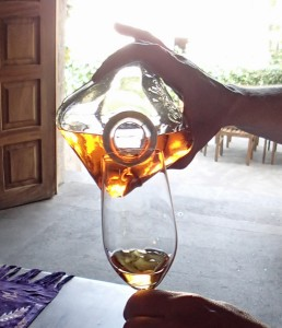 The finest I've ever had: 5-year-old Casa Noble extra anejo from a 100 liter barrel. Look at the body of it in the glass.