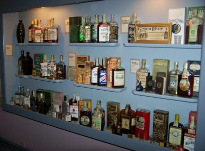Some of the historic whiskey bottles on display at the Oscar Getz Museum of Whiskey History. Photo courtesy of the Oscar Getz Museum